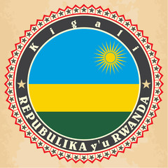 Vintage label cards of  Rwanda flag