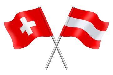 Fahnen: Schweiz und Österreich