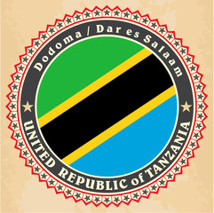 Vintage label cards of  Tanzania flag