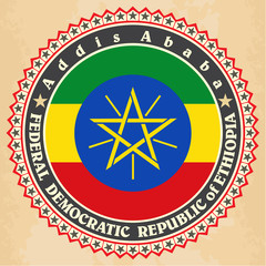 Vintage label cards of  Ethiopia flag.