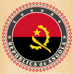 Vintage label cards of  Angola flag.