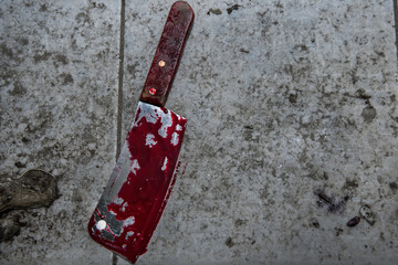 Dirty cleaver cover with blood