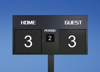 soccer scoreboard score 3 & 3