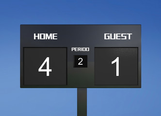 soccer scoreboard score 4 & 1