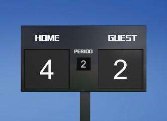 soccer scoreboard score 4 & 2