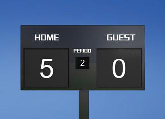 soccer scoreboard score 5 & 0