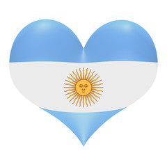Argentine flag in 3D heart shape