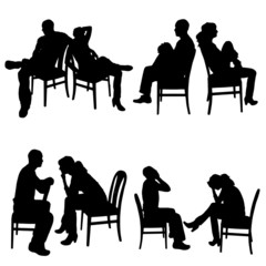 Vector silhouette of couple.