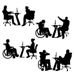 Vector silhouettes of people in the office.
