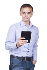 Man with tablet in his hands.