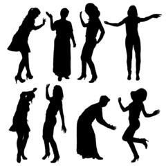 Vector silhouette of women.