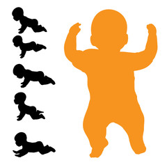 Vector silhouette of baby.