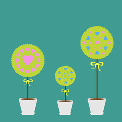Tree set with heart flowers in the pot. Flat design.