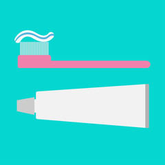 Pink toothbrush and toothpaste tube. Flat design style.