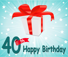40 year Happy Birthday Card with gift and colorful background