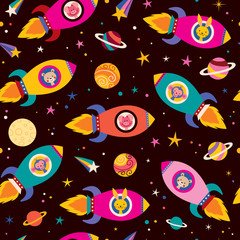 cute animals in spaceships kids pattern
