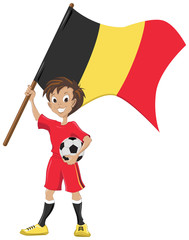 Happy soccer fan holds Belgian flag