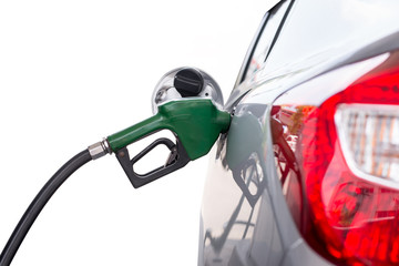 Pumping gas isolated white background with clipping path