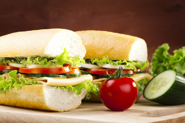 vegetarian sandwich with cheese and vegetables