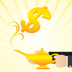 cartoon businessman rub the lamp