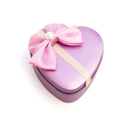 heart shape gift box on white with clipping path, closed