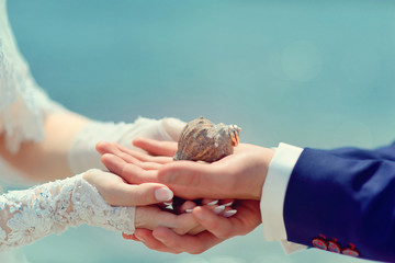 Love - romantic couple, Bride and Groom holding hands on a seash