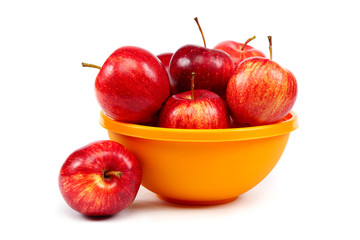 Fresh red apples in a bowl.
