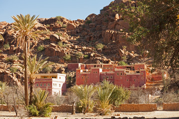 Village near Tafraout, Anti-Atlas mountains in southern Morocco.