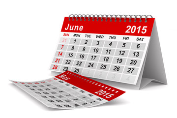 2015 year calendar. June. Isolated 3D image