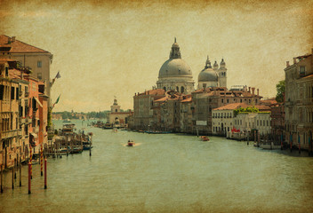 The Grand Canal in Venice, Italy.  Added paper texture