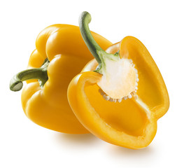 One yellow bell pepper and half isolated on white background