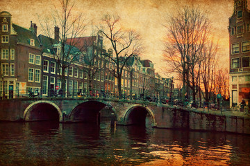Evening in Amsterdam, Netherlands . Photo in retro style.