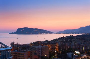 Cityscape of Alanya in the sunset, Turkey