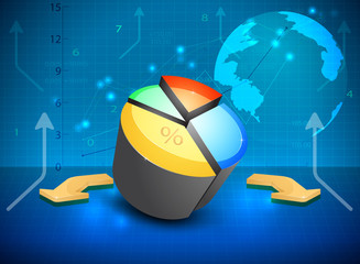 Pie chart with graph business vector background