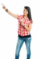 Mädchen zeigt mit dem Finger nach oben