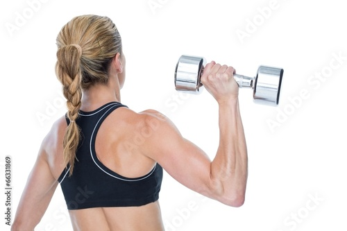 Female bodybuilder holding a large dumbbell rear view