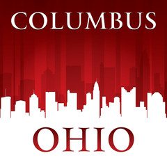 Columbus Ohio city skyline silhouette red background