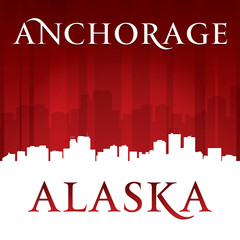 Anchorage Alaska city skyline silhouette red background