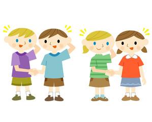 握手する日本人と外国人の子供
