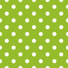 Seamless green pattern with white dots