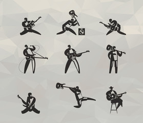 Musicians icons set. Vector format