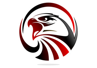Logo red black hawk