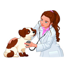 Veterinary with dog.