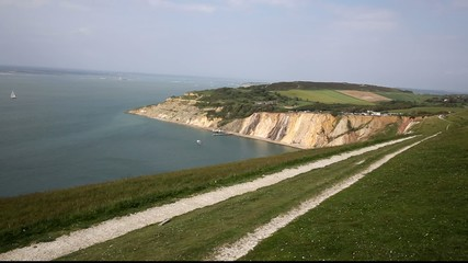 Coast path Alum Bay Isle of Wight by the Needles