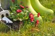 jardinage et bottes en caoutchouc
