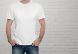 Fototapety Man wearing blank t-shirt with copy space