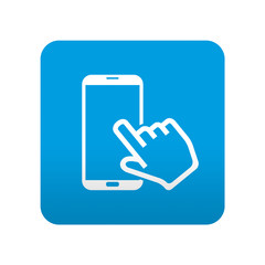 Etiqueta tipo app azul simbolo pantalla tactil