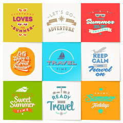 Set of travel and vacation type emblems and symbols