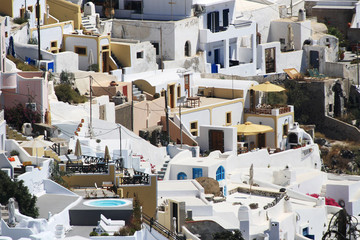 White village of Fira in Santorini