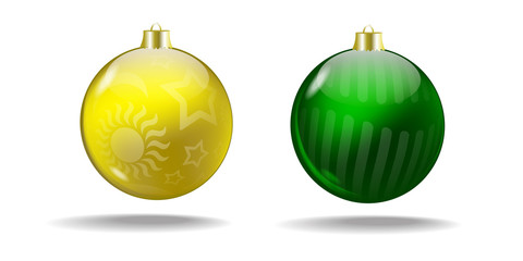 Yellow and green Christmas tree balls. Vector. Isolated.
